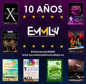 programación X aniversario EMML escuela musica años diez teatro lepe conciertos musical